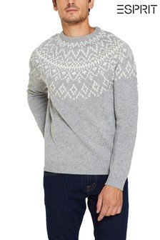 Esprit Grey Rounded Jacquard Crew Neck Jumper