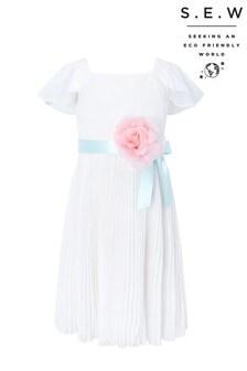 Monsoon S.E.W環保象牙白Lexis打摺洋裝