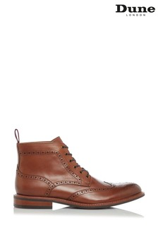 Dune London Morale Tan Leather Brogue Boots