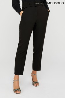 Monsoon Ladies Black Erica Tapered Leg Trousers