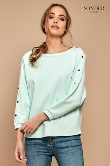 Sonder Studio Popper Sleeve Top Plain Top