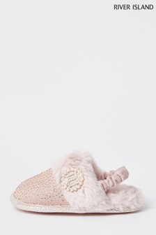 River Island Pink Light Diamanté Pearl Glam Slippers