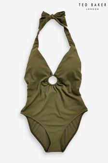 Ted Baker Green Oliviar Halterneck Circle Swimsuit