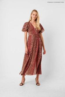 French Connection Animal Crepe Midi Tea Dress