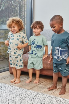 3 Pack Vehicle Print Short Pyjamas (9mths-8yrs)