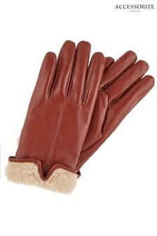 Accessorize黃褐色人造毛皮革手套