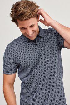 幾何圖案印花Polo衫