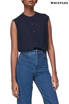 חולצה מבד מקומט עם שרוולים קצרים שלWhistles בכחול כהה