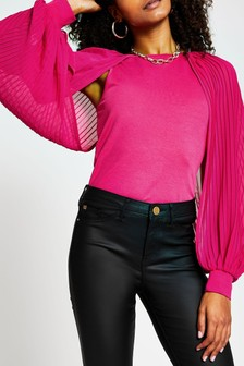 River Island Pink Bright Pleat Blouson Sleeve Top