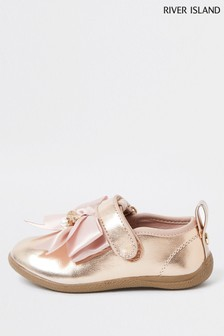 River Island Rose Gold Metallic Bow Bumper Shoes