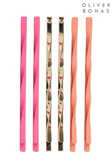 Oliver Bonas Orange Kitts Matte Twist Detail Grips Six Pack