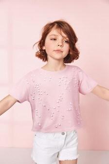 Skrátené tričko zdobené perlami (3 – 16 rok.)