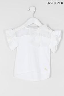 River Island T-Shirt mit Rüschen und Organza-Zierschleife, Weiß
