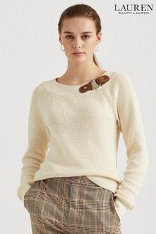 סוודרDeryna עם צווארון מעוגל וקישוט אבזם שלLauren Ralph Lauren®
