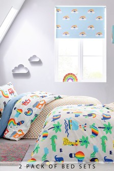 2 Pack Rainbow Transport Reversible Duvet Cover And Pillowcase Set