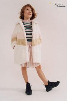 Velveteen White Sabine Faux Fur Coat