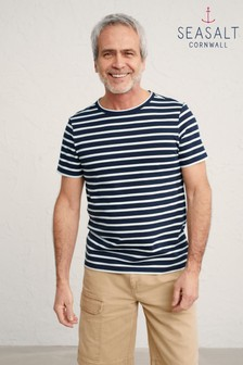 Seasalt Cornwall Blue Breton Midnight Chalk Seven Seas Sailor T-Shirt