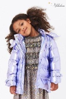 Manteau Velveteen Tilda violet à capuche