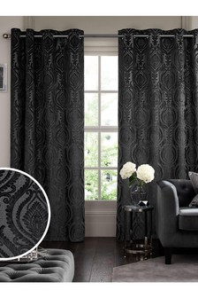 Silver Grey Collection Luxe Damask Eyelet Curtains