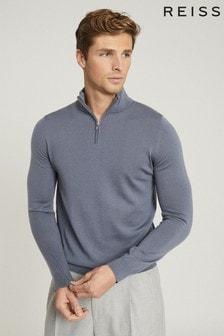 Reiss Blue Blackhall Merino Wool Zip Neck Jumper