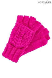 Accessorize Pink Chunky Capped Gloves