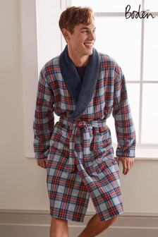 Boden Grey Marl Multi Check Brushed Cotton Dressing Gown