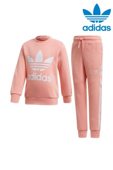 adidas Originals Little Kids Pink Crew And Joggers Set