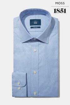Moss 1851訂製剪裁鈕扣袖口天藍色埃及棉織紋恤衫
