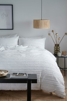 100% Cotton Marley Frayed Edge Duvet Cover And Pillowcase Set