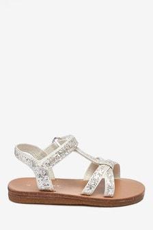 Sandały z połyskiem i paskiem w kształcie T (Młodsi)