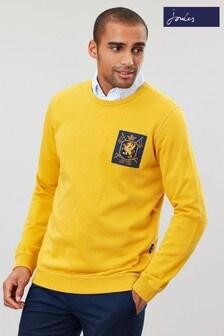 Bluză la baza gâtului cu emblemă Joules Dartmouth galbenă