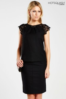 HotSquash Black Lace Sleeved Crepe Top