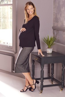 Черная юбка в рубчик (для беременных)
