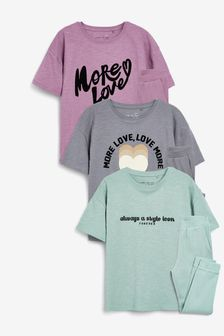 3 Pack Slub Slogan Top With Rib Jogger Pyjamas (3-16yrs)