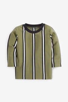 חולצת טי מג'רזי עם פסי רוחב ושרוולים ארוכים (3 חודשים עד גיל 7)