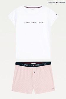סט מכנסיים קצרים עשויים ג'רזי של Tommy Hilfiger דגם Original בלבן