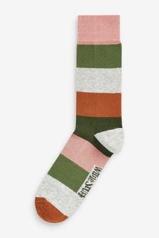 White Stuff大地色闊條紋襪
