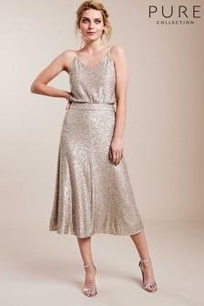 Pure Collection Gold Sequin Midi Skirt