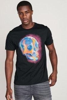 T-Shirt mit Farbspritzer-Grafik