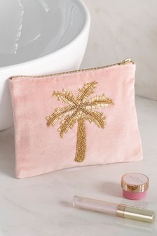 Embellished Palm Tree Cosmetics Bag