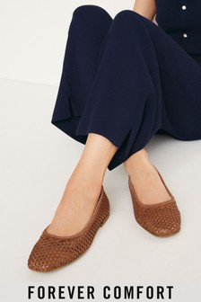 Leather Woven Ballerina Shoes