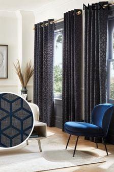 Navy Blue Flocked Geo Eyelet Curtains