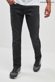 Черные джинсы прямого кроя с потертостями Emporio Armani J21