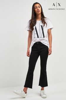 Armani Exchange Black Cropped Mini Flare Jean