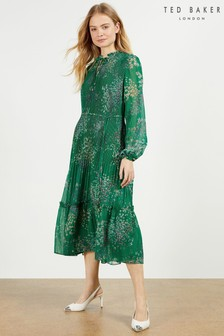 Ted Baker Rosiiie Serendipity Pleated Long Sleeve Midi Dress