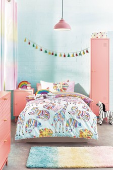 Pink Rainbow Safari Reversible Duvet Cover And Pillowcase Set