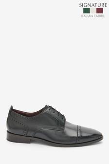 Signature 意大利皮革飾孔包頭德比鞋