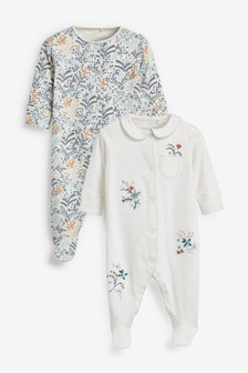 2 Pack Embroidered Sleepsuits (0mths-2yrs)