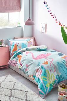 Teal/Pink Bright Flamingo Reversible Duvet Cover and Pillowcase Set