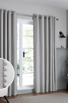 Textured Tassel Eyelet Lined Curtains